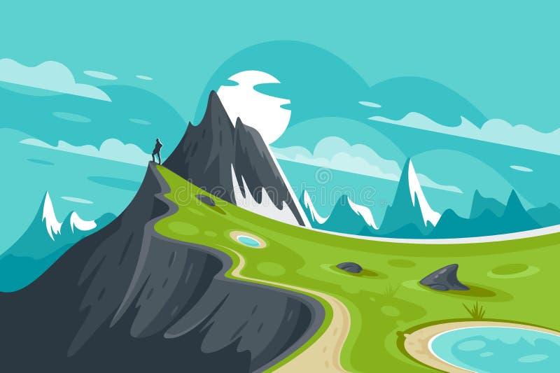 Homme plat sur le fond de montagne de nature avec le soleil et le nuage illustration stock
