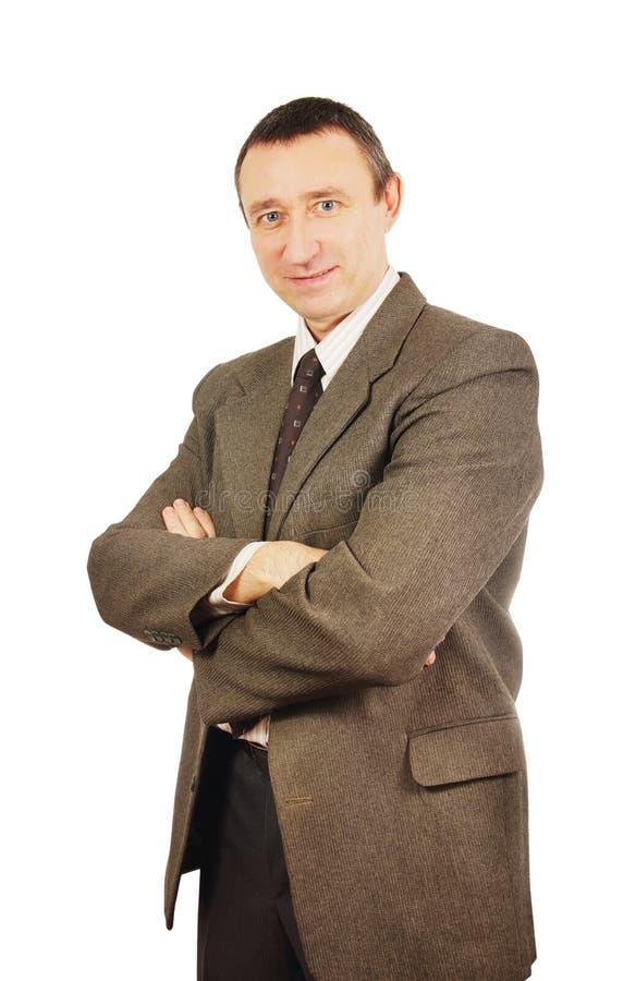 Homme Plein D Assurance Dans Un Costume Photo stock