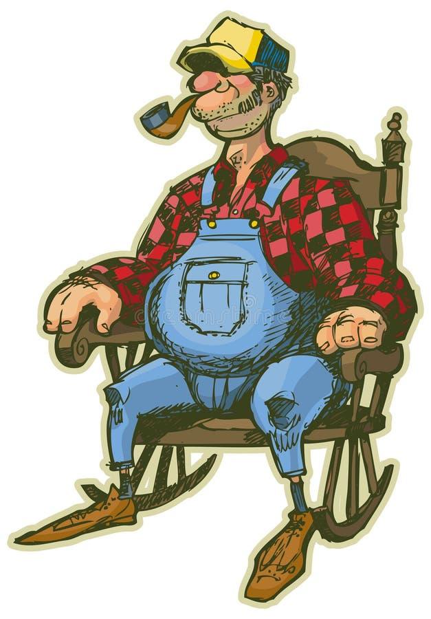 Homme plus âgé dans la bande dessinée de vecteur de chaise de basculage illustration libre de droits