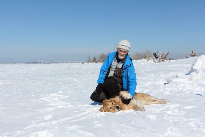 Homme plus âgé dans une veste bleue et un chien un Labrador sur la neige photos libres de droits