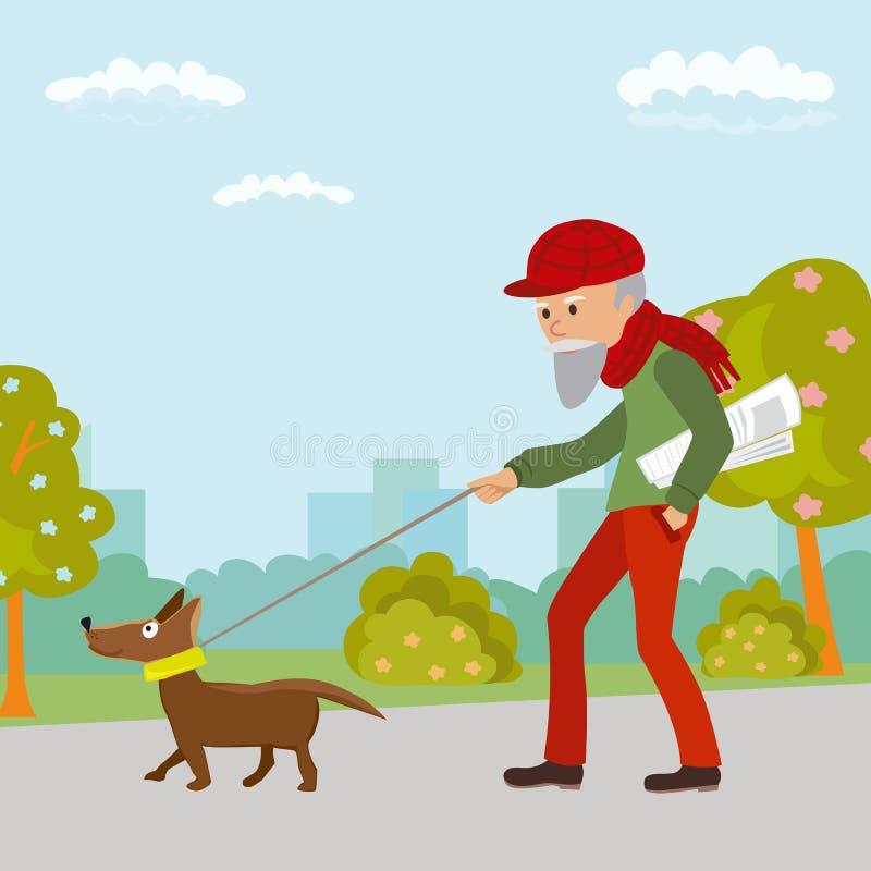 Homme plus âgé marchant avec son chien en parc Illustration de vecteur illustration stock