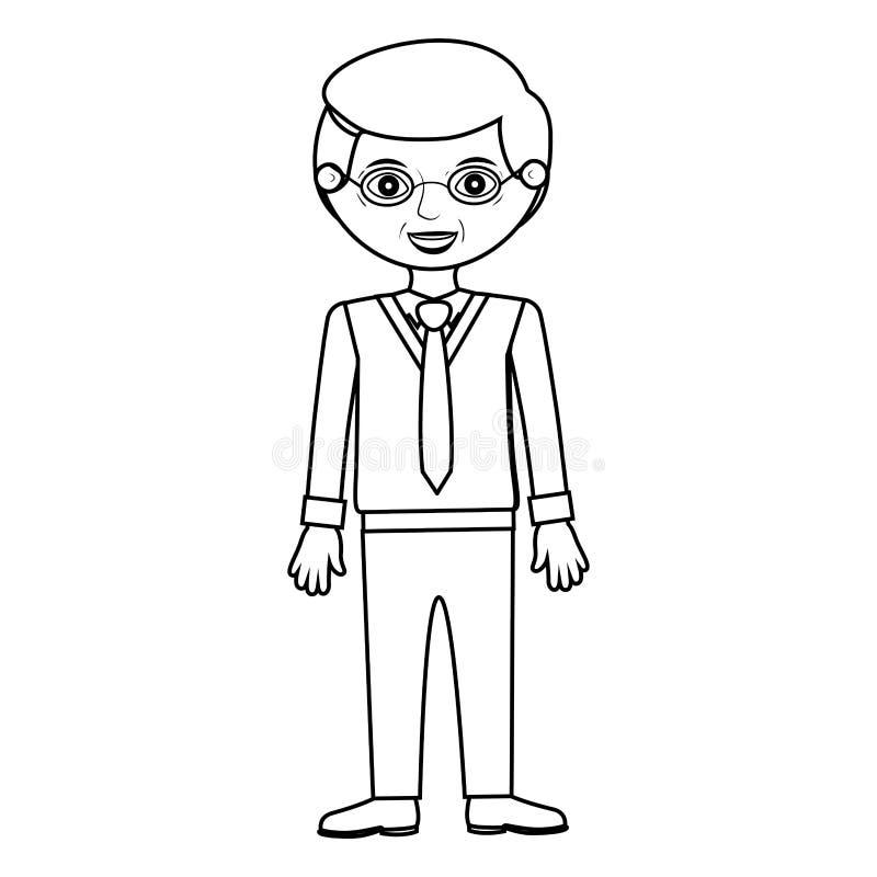 Homme plus âgé se tenant avec le costume formel illustration stock