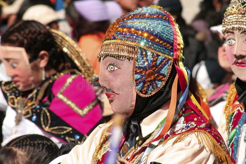 Homme portant un masque typique au festival religieux de Paucartambo de Virgen del Carmen photographie stock libre de droits