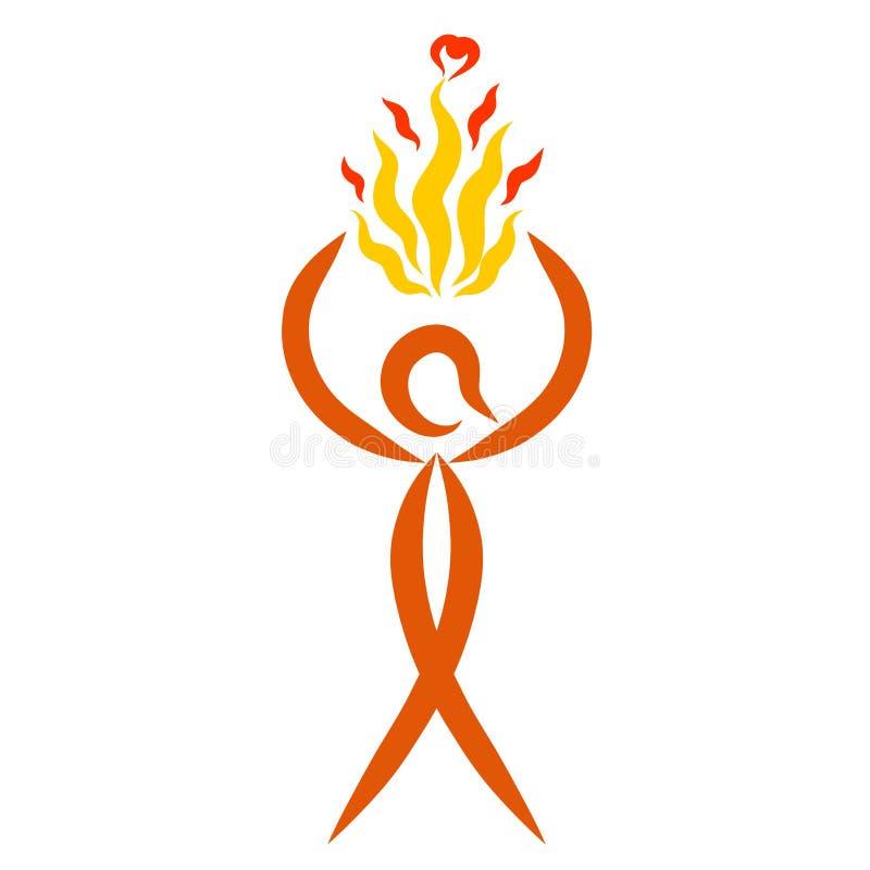 Homme portant une flamme avec des coeurs, modèle abstrait illustration libre de droits