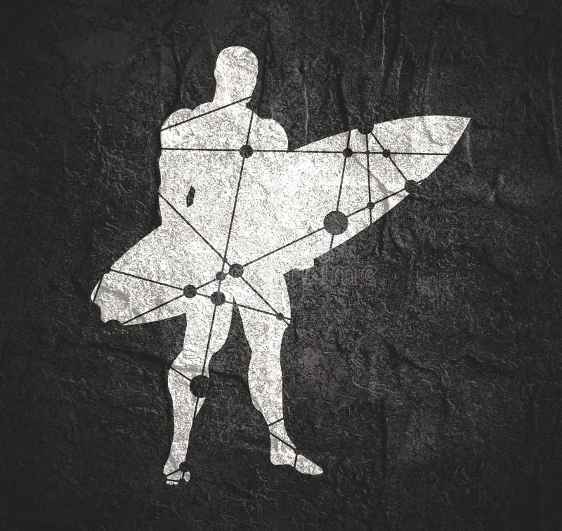 Homme posant avec la planche de surf illustration de vecteur
