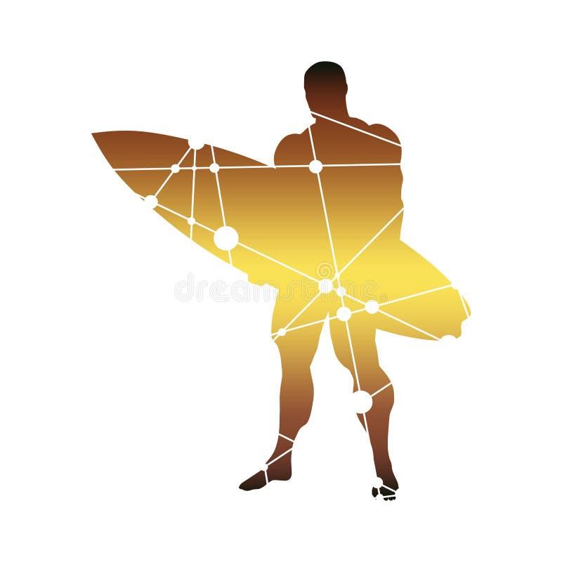Homme posant avec la planche de surf illustration libre de droits