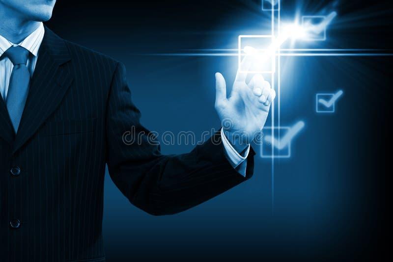 Homme poussant l'icône images stock