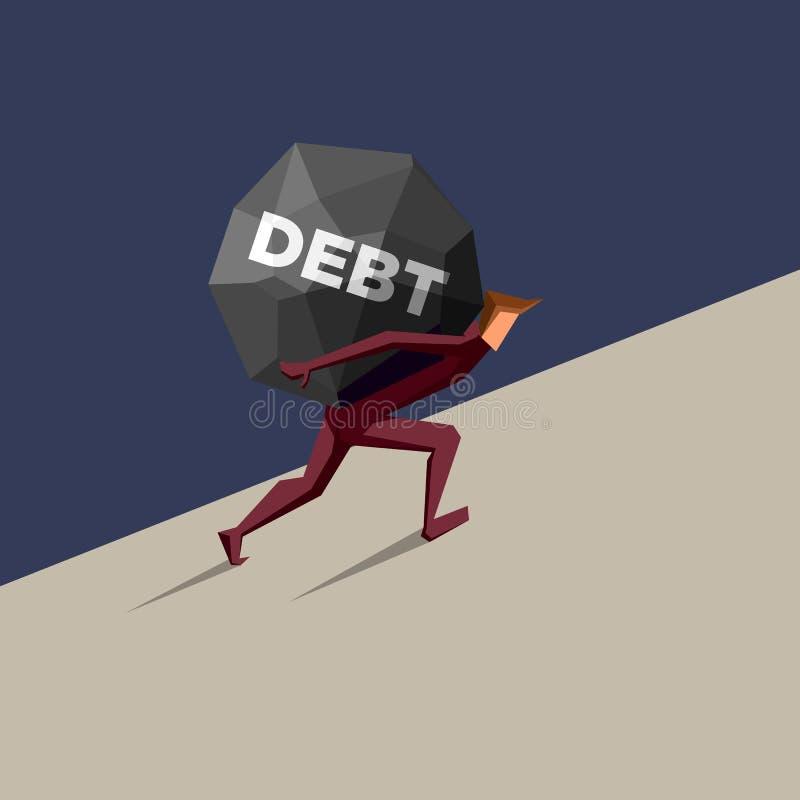 Homme poussant la grande dette vers le haut illustration libre de droits