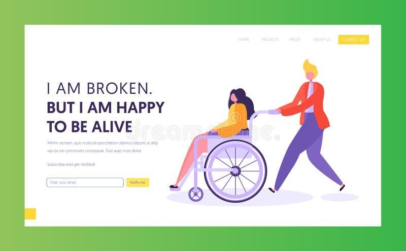 Homme poussant la jeune fille handicapée s'asseyant dans le fauteuil roulant Appui de caractère masculin son ami, personne handic illustration libre de droits