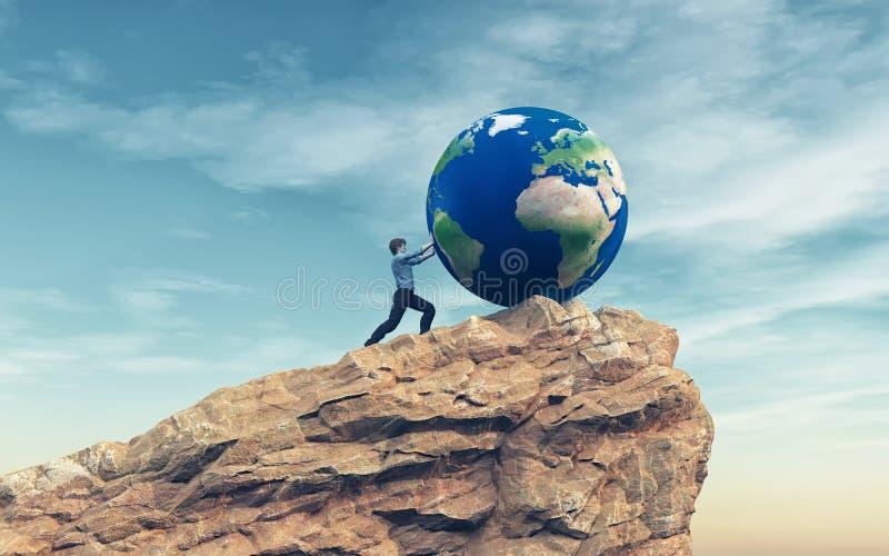 Homme poussant un grand globe de la terre illustration de vecteur
