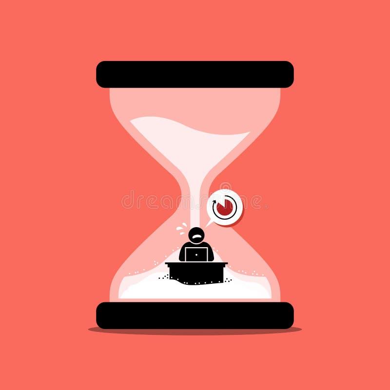 Homme précipitant son travail de bureau à l'intérieur d'une horloge ou un sablier de sable représentant la date-butoir illustration stock