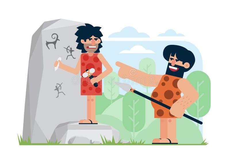 Homme préhistorique avec la lance riant et se dirigeant à l'artiste contrarié découpant des pétroglyphes sur la roche Moquez-vous illustration stock