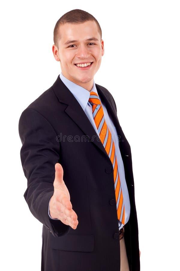 Homme prêt à placer une affaire images stock
