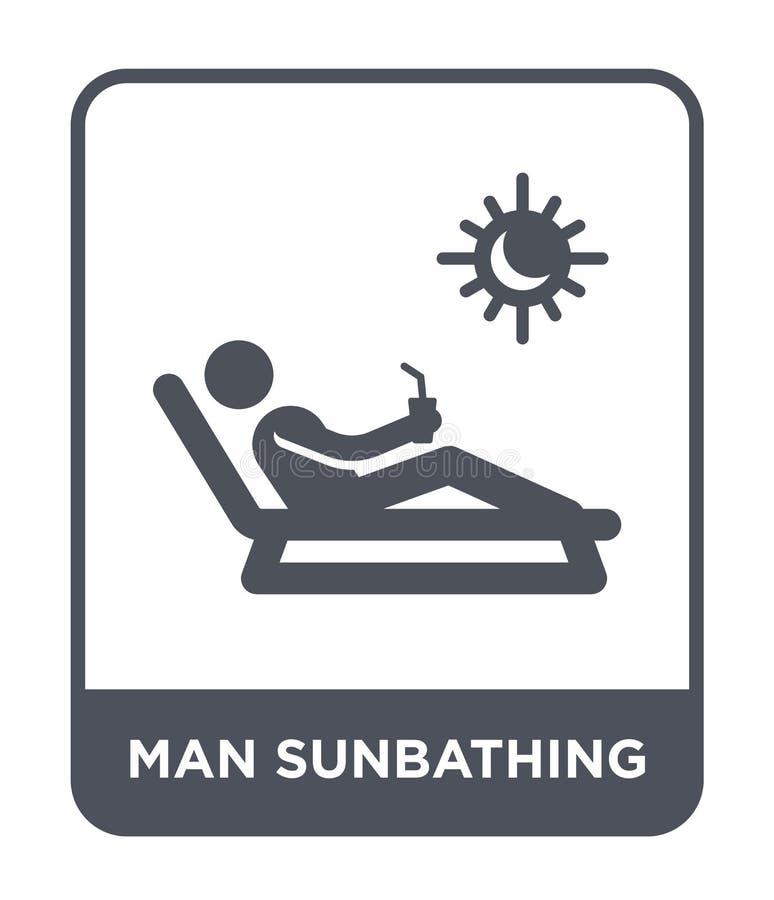 homme prenant un bain de soleil l'icône dans le style à la mode de conception homme prenant un bain de soleil l'icône d'isolement illustration stock