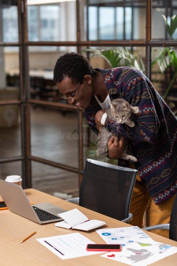 Homme prenant un chat à partir de son lieu de travail photos stock