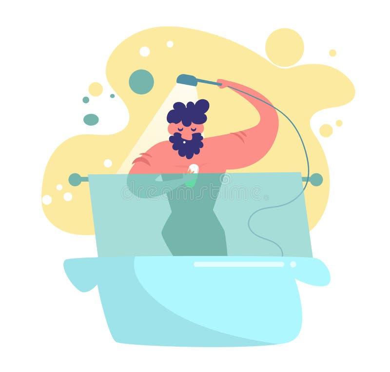 Homme prenant un vecteur de douche cartoon Art d'isolement sur le fond blanc plat illustration stock
