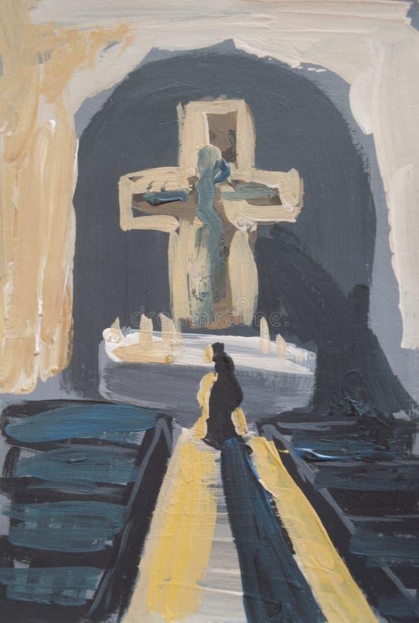 Homme priant dans l'église illustration de vecteur
