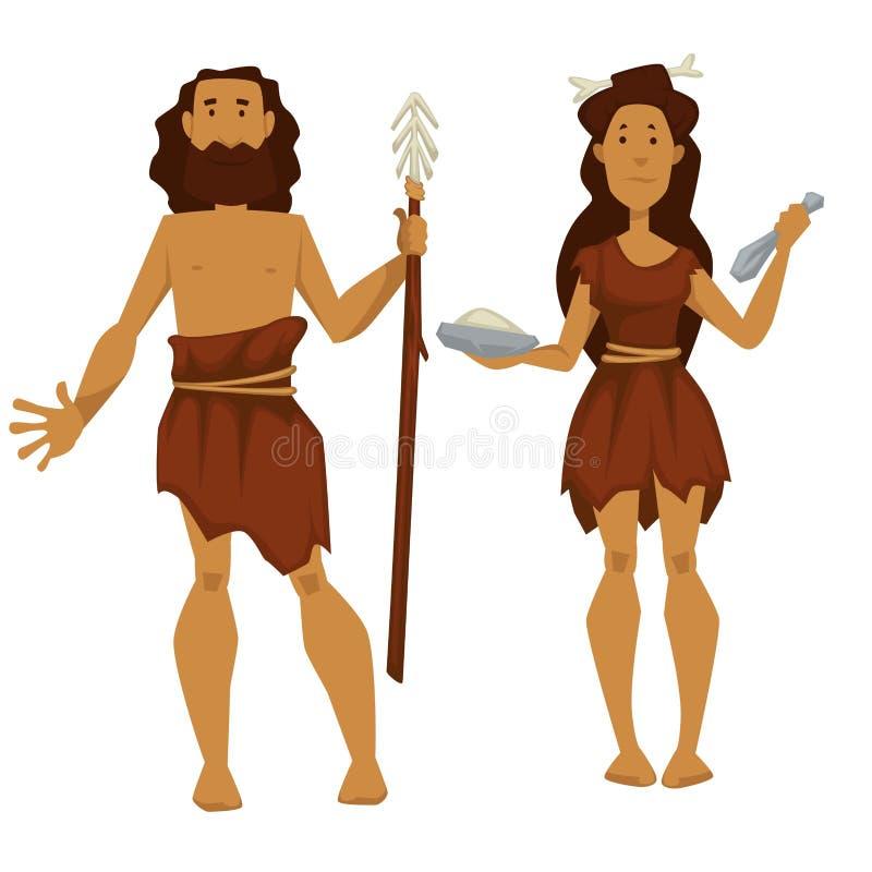 Homme primitif et femme d'âge de pierre avec la pièce de rechange et les outils illustration stock