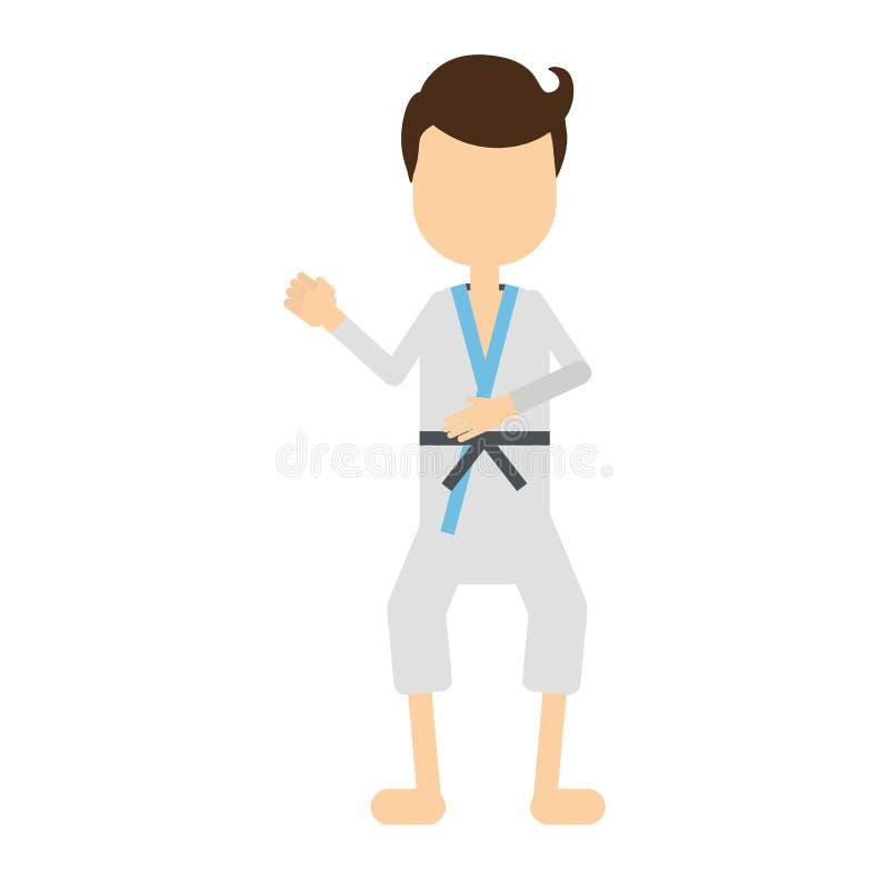 Homme professionnel d'isolement de karaté illustration stock