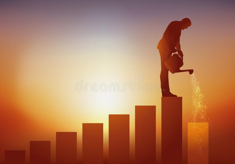 Concept of professional development with a man who cultivates his career plan by watering the walk that will allow him to move for. Concept of career development royalty free illustration