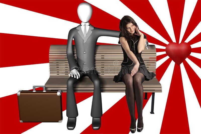 Homme psychédélique de l'aventure amoureuse 3d et femme timide illustration de vecteur