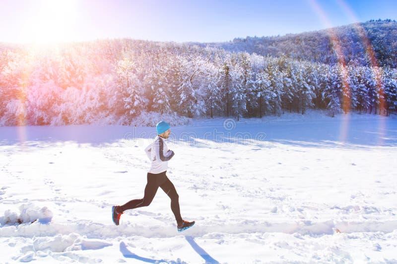 Homme pulsant en nature d'hiver image libre de droits