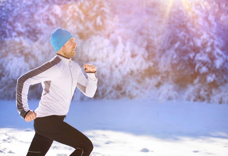 Homme pulsant en nature d'hiver images libres de droits