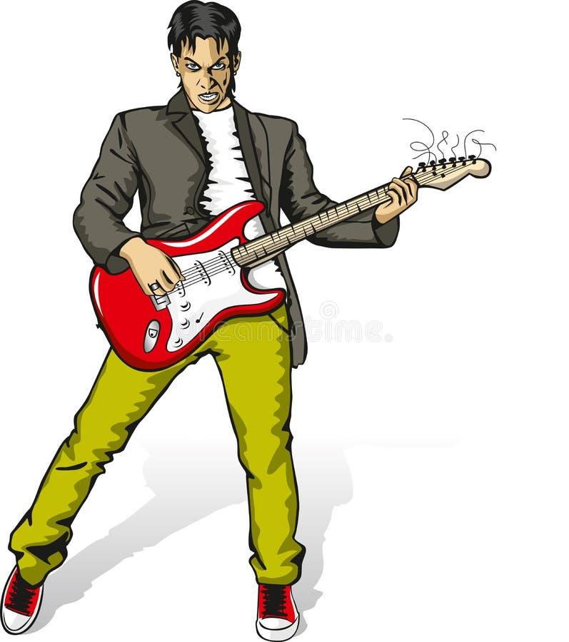 Homme punk avec la guitare illustration stock
