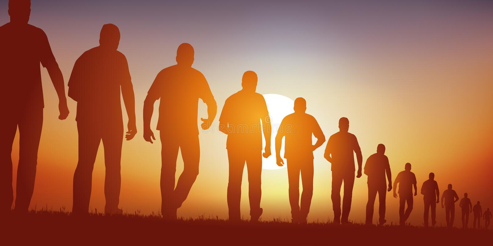 Concept Of The Group With Men Who Walk Endlessly Following ...