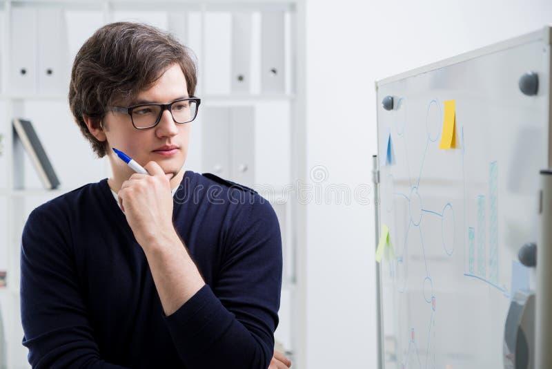Homme réfléchi regardant des graphiques de gestion photographie stock