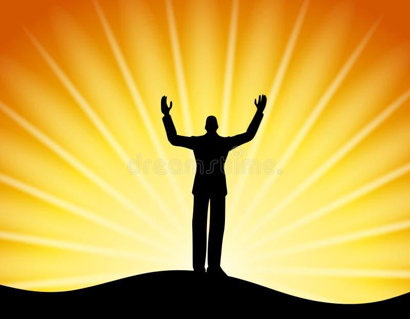 Homme réussi restant des rayons de Sun illustration de vecteur