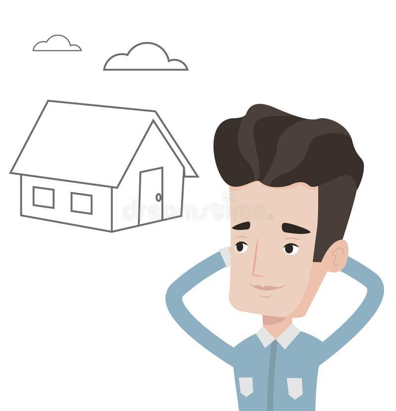 Homme rêvant d'acheter la nouvelle maison illustration libre de droits