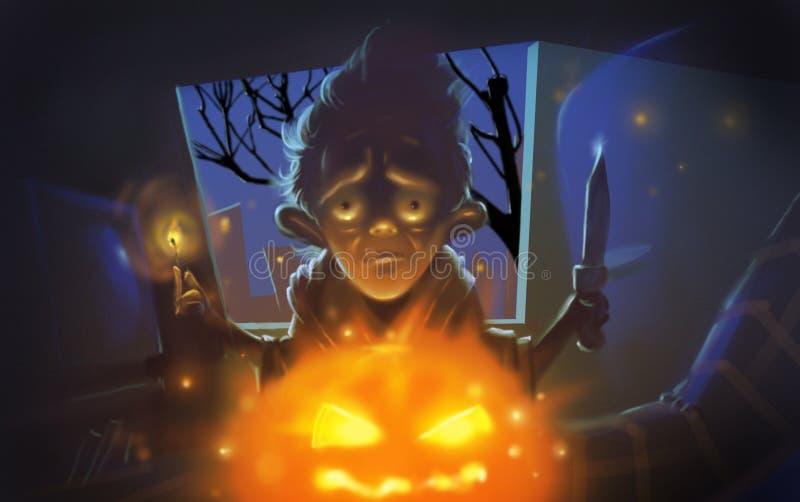 Homme rampant de Halloween avec l'illustration de potiron illustration de vecteur