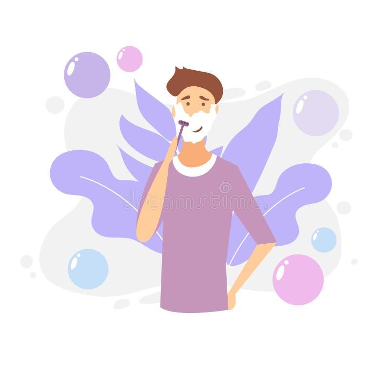 Homme rasant le visage avec la mousse Soin de peau Illustration de dessin animé de vecteur illustration libre de droits