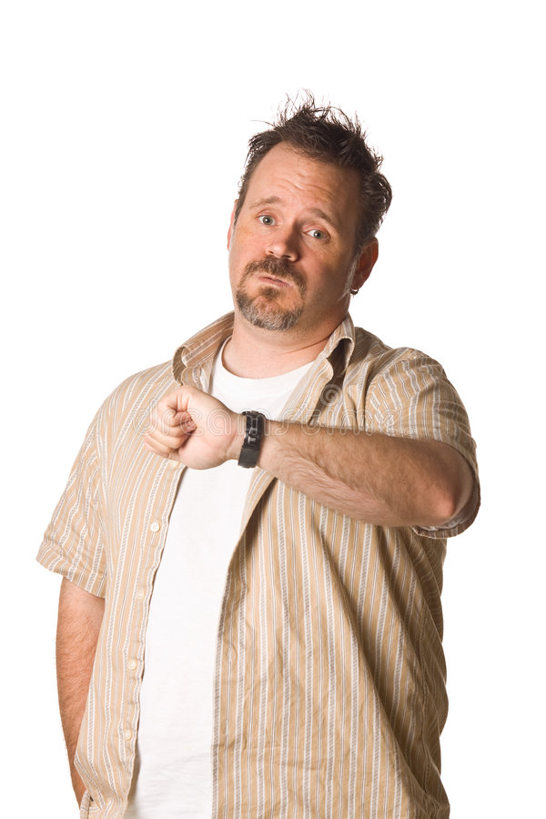Homme regardant la montre photos stock