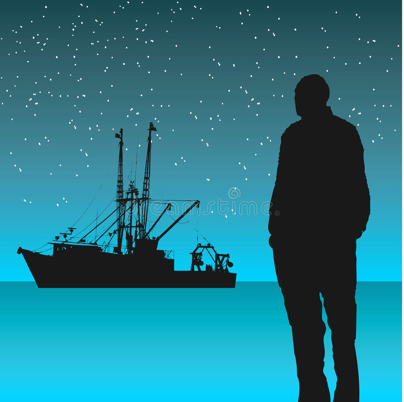 Homme regardant le bateau de pêche illustration stock