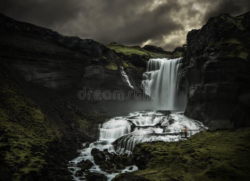 Homme regardant une cascade photographie stock libre de droits