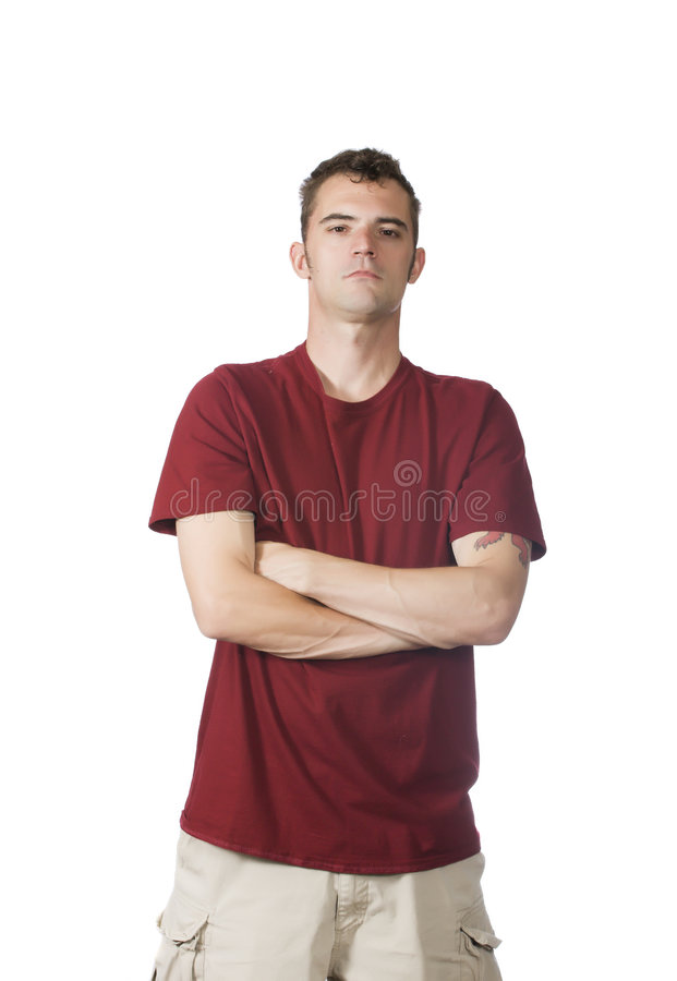 Homme restant avec des bras croisés photos libres de droits