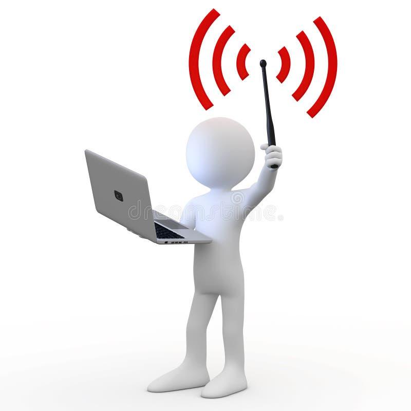 Homme restant avec l'ordinateur portatif et l'antenne de wifi illustration libre de droits