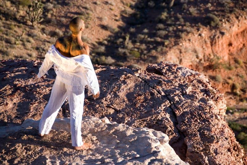 Homme restant sur la roche. image stock