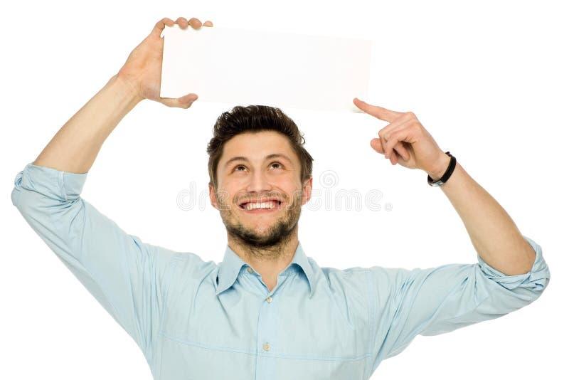 Homme retardant le signe blanc au-dessus de sa tête photos libres de droits