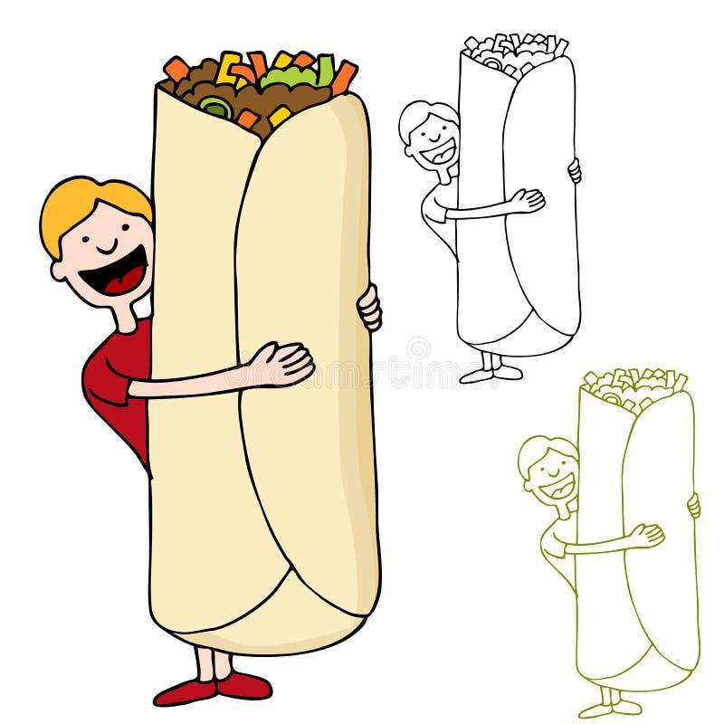 Homme retenant le Burrito géant illustration stock