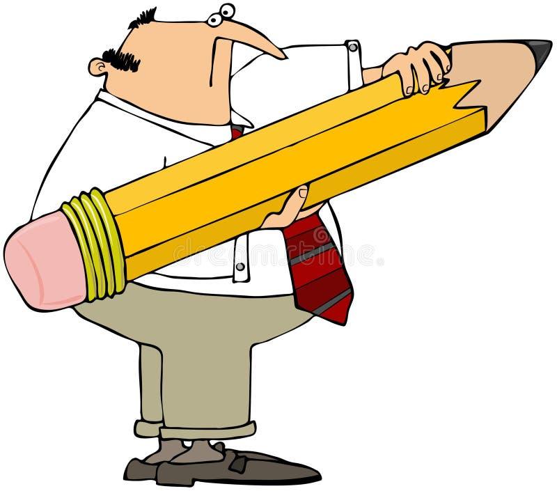 Homme retenant un crayon géant illustration stock