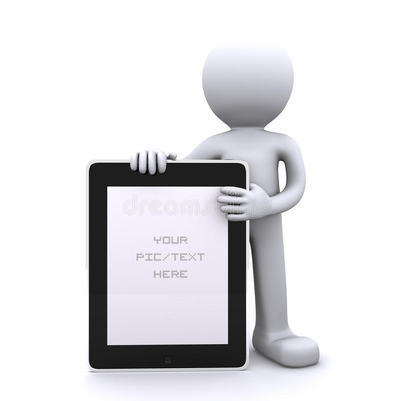 Homme retenant un PC blanc de tablette. La publicité du concept illustration stock
