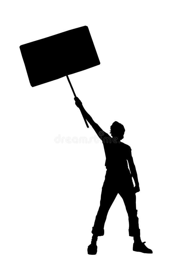 Homme retenant un signe blanc illustration de vecteur