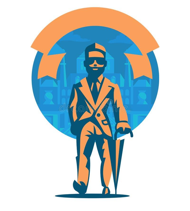 Homme riche avec un parapluie illustration libre de droits