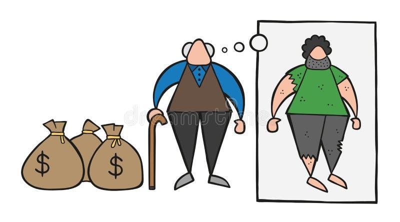 Homme riche de bande dessinée de vecteur le vieil avec l'argent du dollar renvoie mais rêvant illustration libre de droits