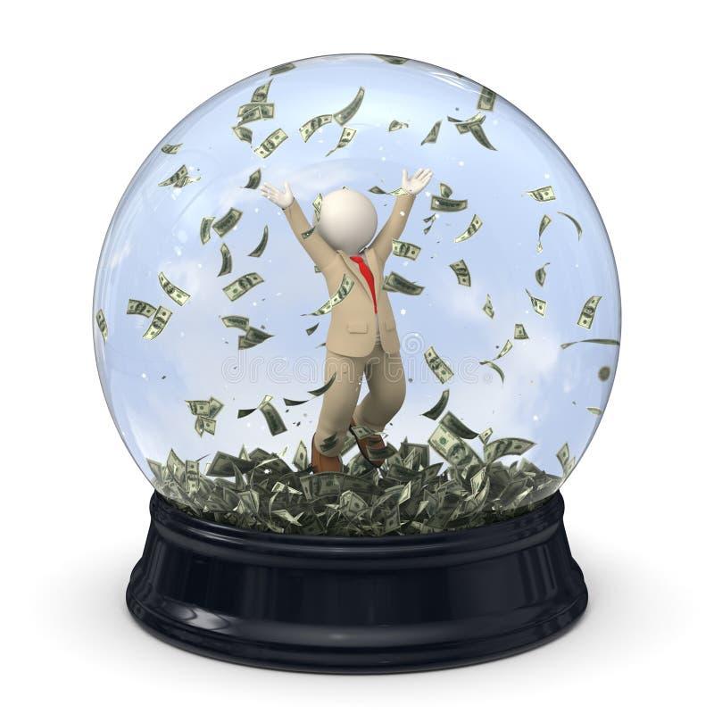 homme riche des affaires 3d en globe de neige - pluie d'argent illustration de vecteur