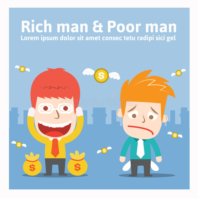 Homme riche et pauvre homme illustration de vecteur