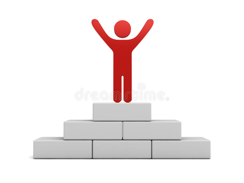 Homme rouge se tenant avec des bras grands ouverts sur le dessus du podium de gain illustration libre de droits